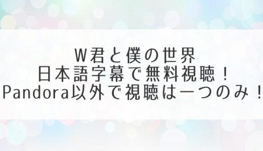 W君と僕の世界の動画を日本語字幕で無料視聴!pandora以外で全話タダは1つだけ!