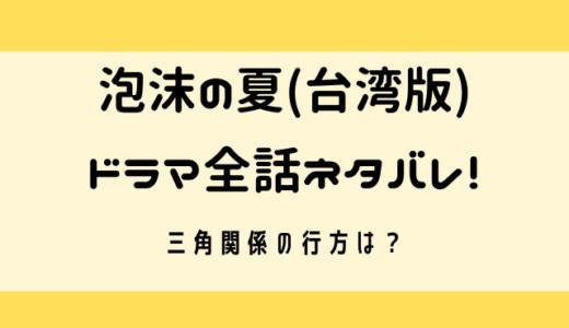 泡沫の夏台湾ドラマ全話ネタバレを紹介!!三角関係の行方は?